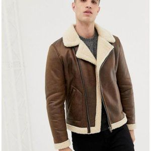 Only & Sons Men's Brown Aviator Faux Leather Jacket Sz L